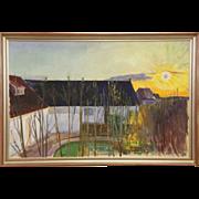 "Sun Over Village in Denmark, Original Oil Painting, 1938, 51"" Wide"
