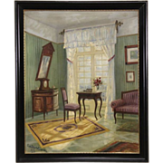 """Drawing Room in Denmark, 1923 Original Oil Painting, 44"""" Tall"""