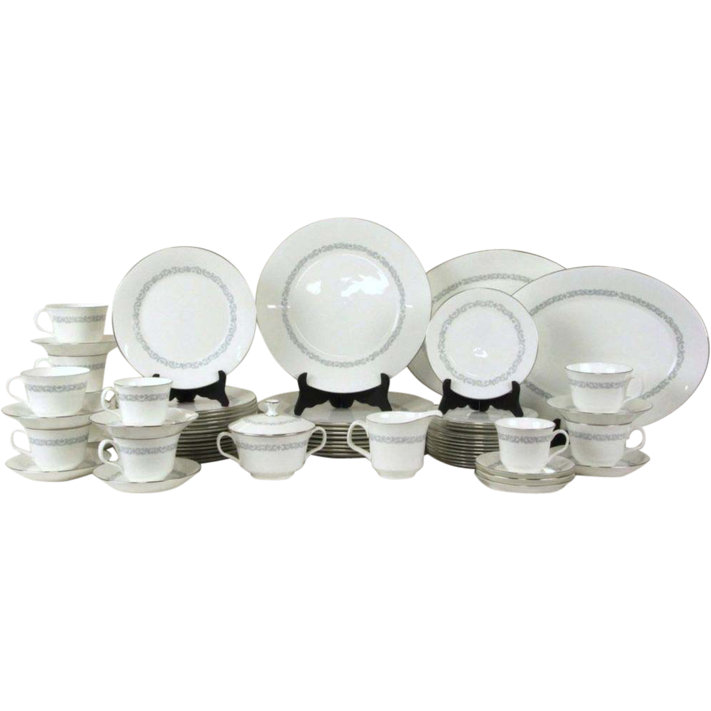 Minton Silver Scroll Set of China, & Serving Pieces
