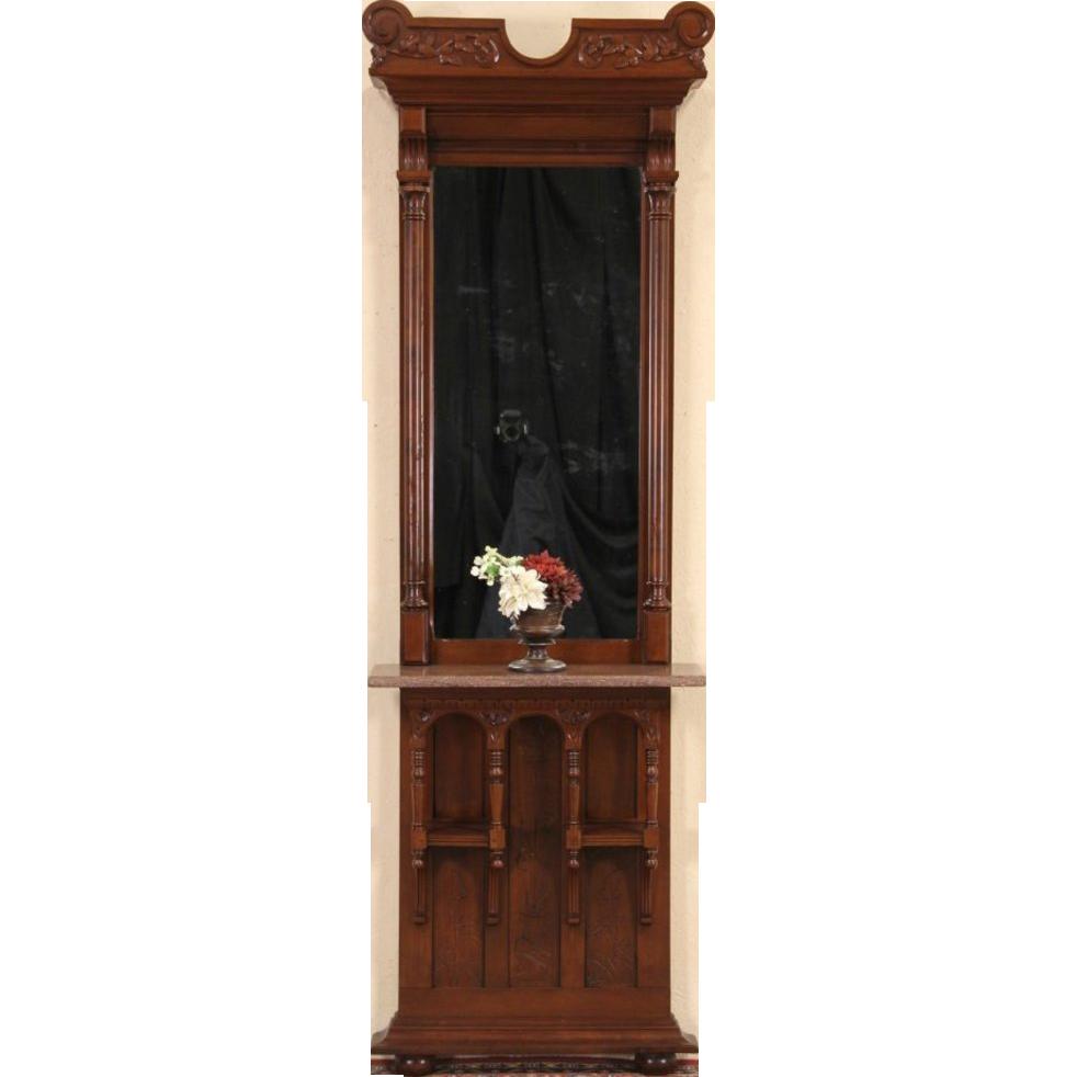 Victorian Eastlake Walnut Antique 1880 Pier Hall Mirror, Marble Shelf