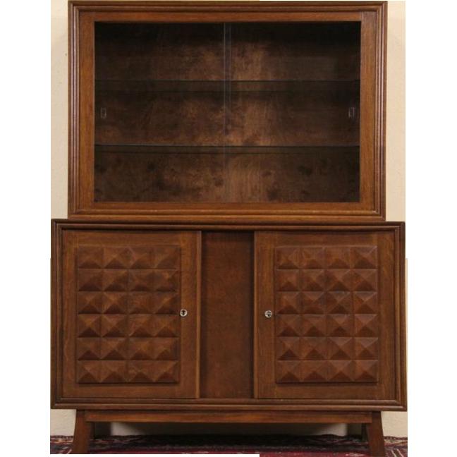 Midcentury Modern 1940's Vintage Scandinavian Oak China Cabinet or Bookcase