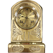 Ansonia NY Signed Antique 1900 Brass Mantel Clock