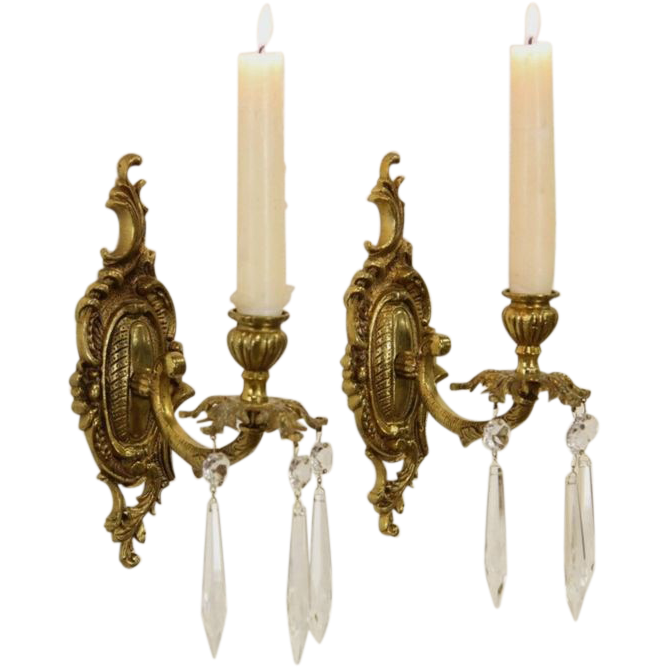 Pair of Spanish Brass Vintage Wall Candle Sconces from rubylane-sold on Ruby Lane