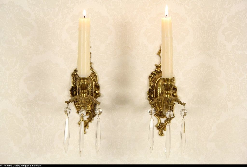 Antique Brass Wall Sconces For Candles : Pair of Spanish Brass Vintage Wall Candle Sconces from rubylane-sold on Ruby Lane