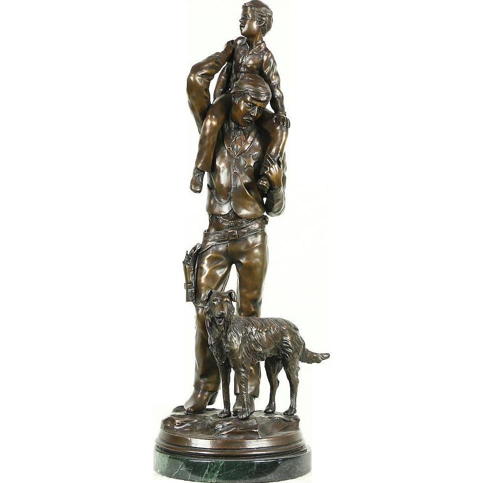 Going Home Bronze Statue, Stan Johnson, Sculpture Signed 1985