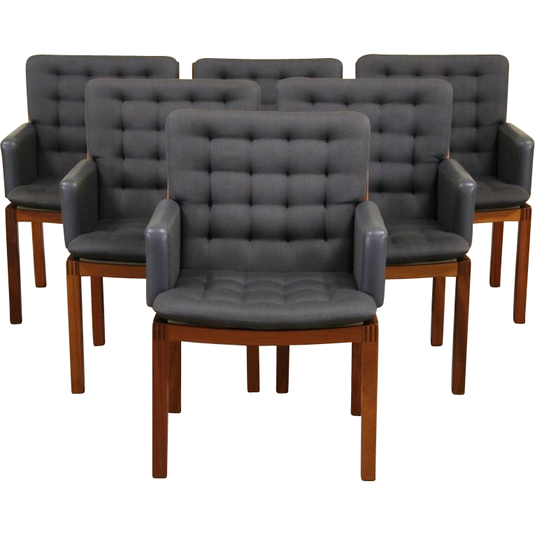 Set of 6 Signed Swedish 1991 Dining or Conference Chairs, Leather  Arms