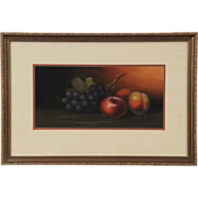 Still Life of Fruit, 1900's Original Antique Pastel or Chalk Picture, Reframed