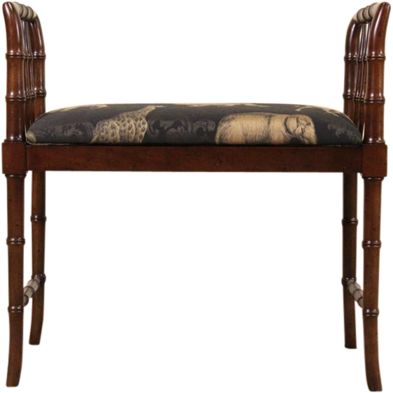 Faux Bamboo Vintage Bench Animal Print Signed Baker From Harpgallery On Ruby Lane
