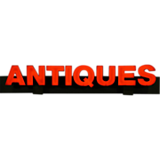 Antiques Lighted Advertising Sign, 15' wide Neon & Red Plexiglass, Indoor Outdoo