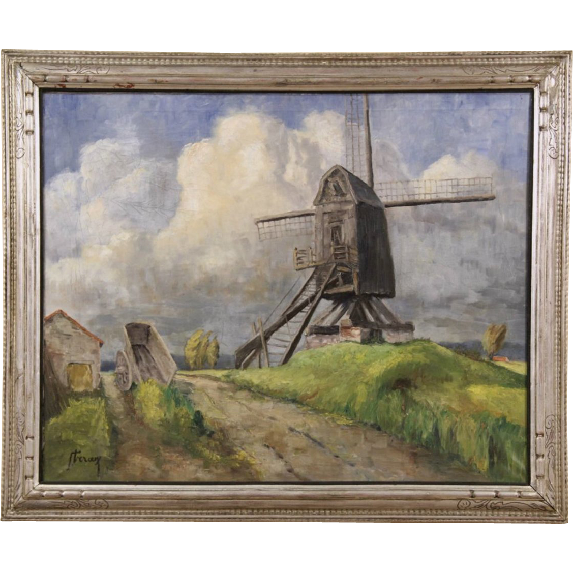 Windmill on the Dutch Shore, Signed Original Oil Painting