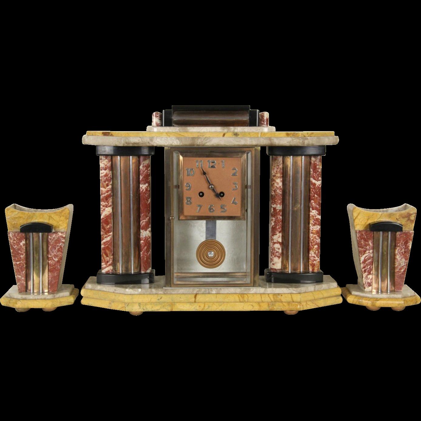 French Art Deco 1925 Antique 4 Color Marble Clock Set 3 Pc.