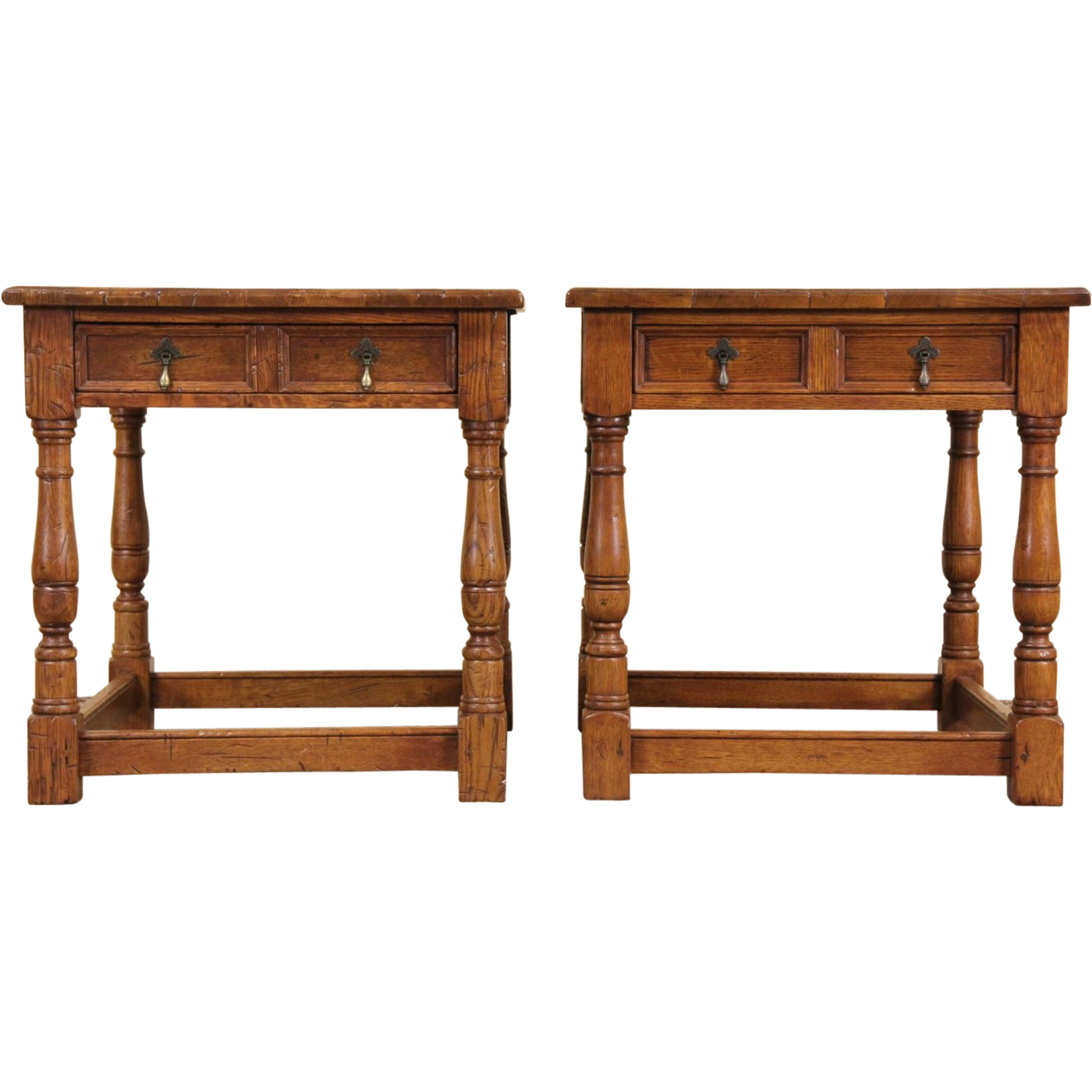 Pair Stickley Antiquities Oak Vintage Lamp or End Tables