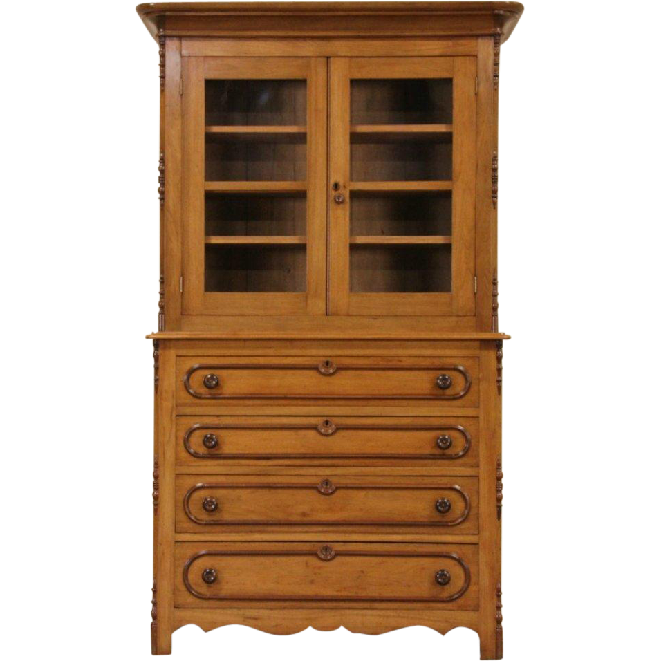 Victorian 1850's Antique Butternut Bookcase, Linen Press or China Cabinet