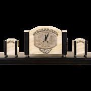French Art Deco 1925 Antique Onyx & Marble  3 pc. Mantel Clock Set