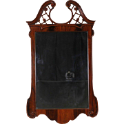 Georgian Chippendale 1920's Mahogany Wall Mirror