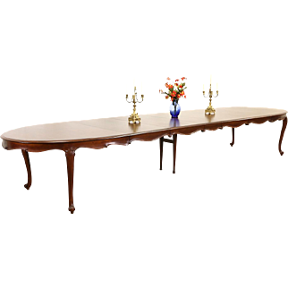 Carved Country French 1950 Vintage Walnut Dining Table, Extends Over 16' Long