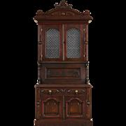 Victorian Child Size 1870 Antique Walnut Secretary Desk & Bookcase