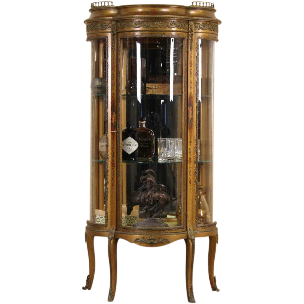Vernis Martin French 1900 Curved Glass Curio or China Display Cabinet
