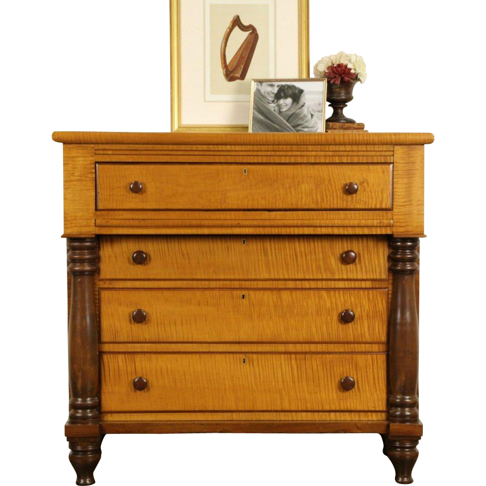 Tiger Curly Maple 1830u0027s American Empire Chest Or Dresser