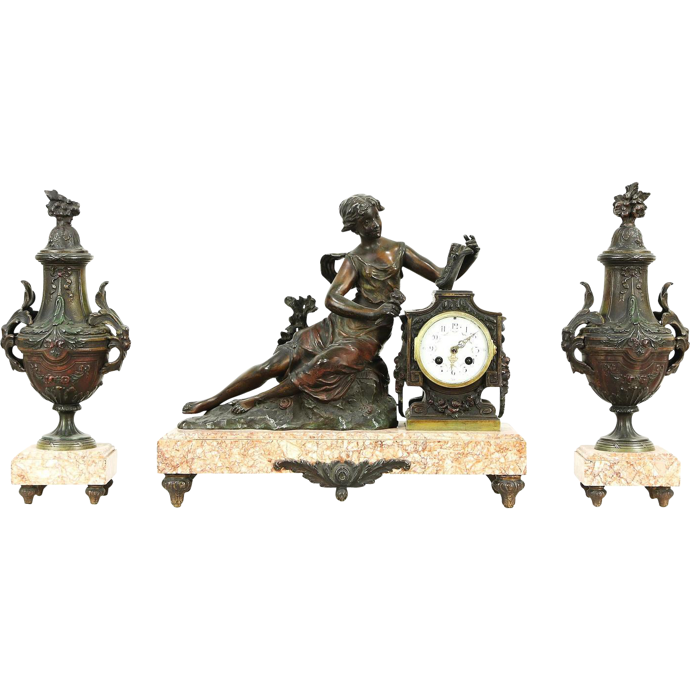 French Antique 1890's Mantel Clock Set, Sculpture Signed Ruffany