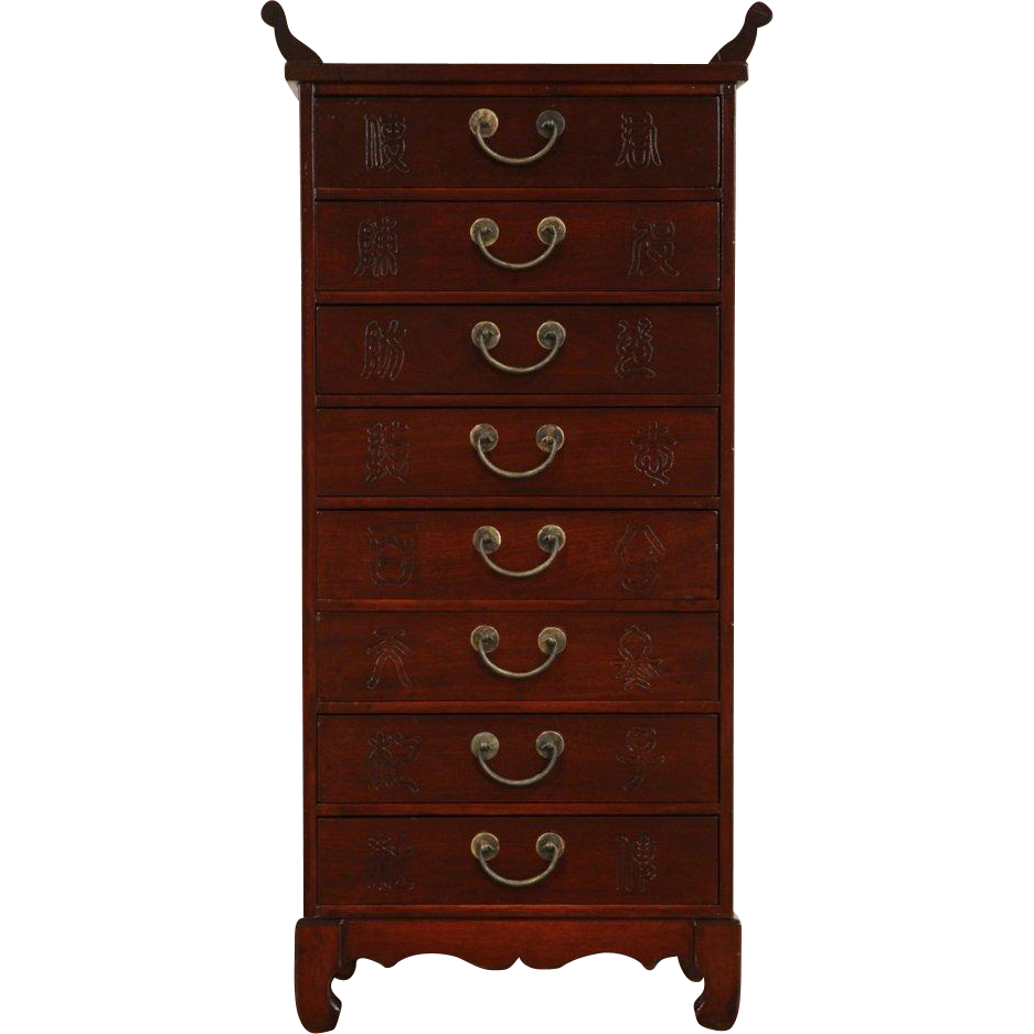 Chinese 8 Vintage Drawer Collector or Music Cabinet, Nightstand