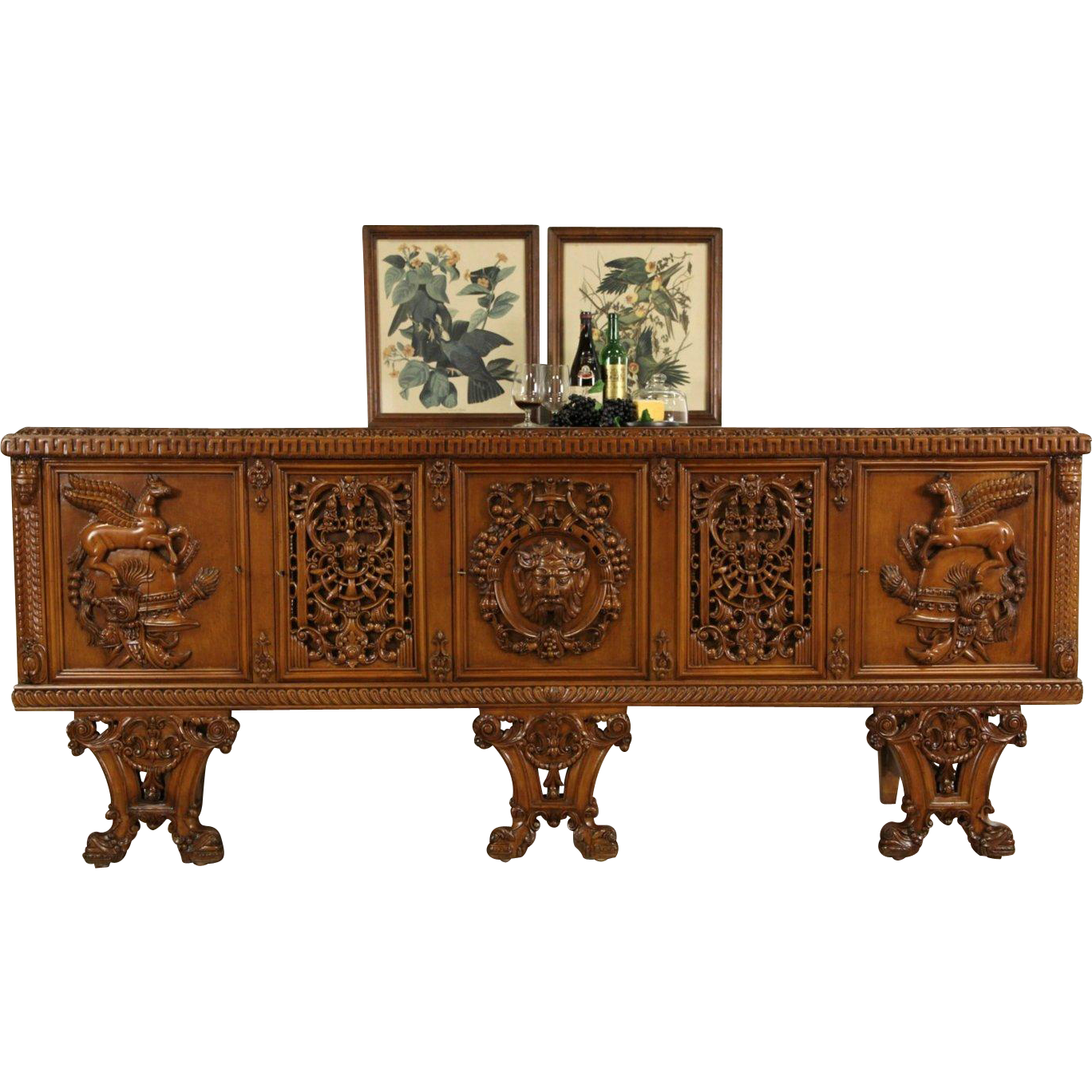 Italian Vintage Console Credenza, Carved Horses, Faces & Dolphins