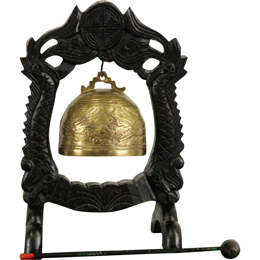 Chinese 1900's Antique Brass Dinner Bell or Gong, Carved Stand & Mallet