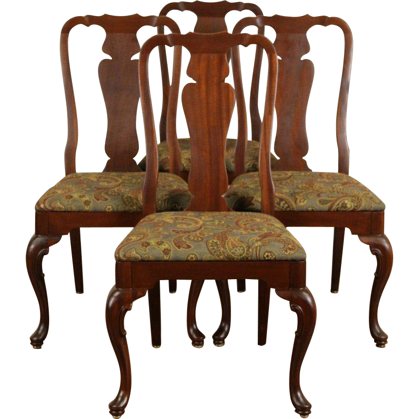 Set of 4 Georgian Style Vintage Mahogany Dining or Game Chairs