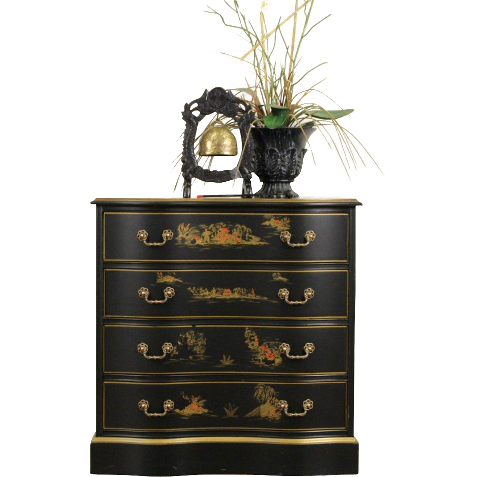 Asian Chinese Black Lacquer Vintage Hall Chest, Dresser or Nightstand