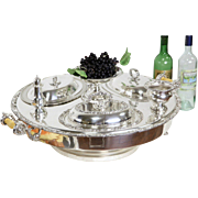 English Silverplate 1920 Antique Spinning Lazy Susan Buffet Server