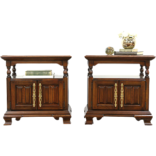 Harden Signed Pair of Vintage Cherry Nightstands or Bedside Chests