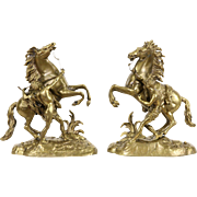 Pair of Marly Horses, Antique 1900 Brass Sculptures after Coustou Statues