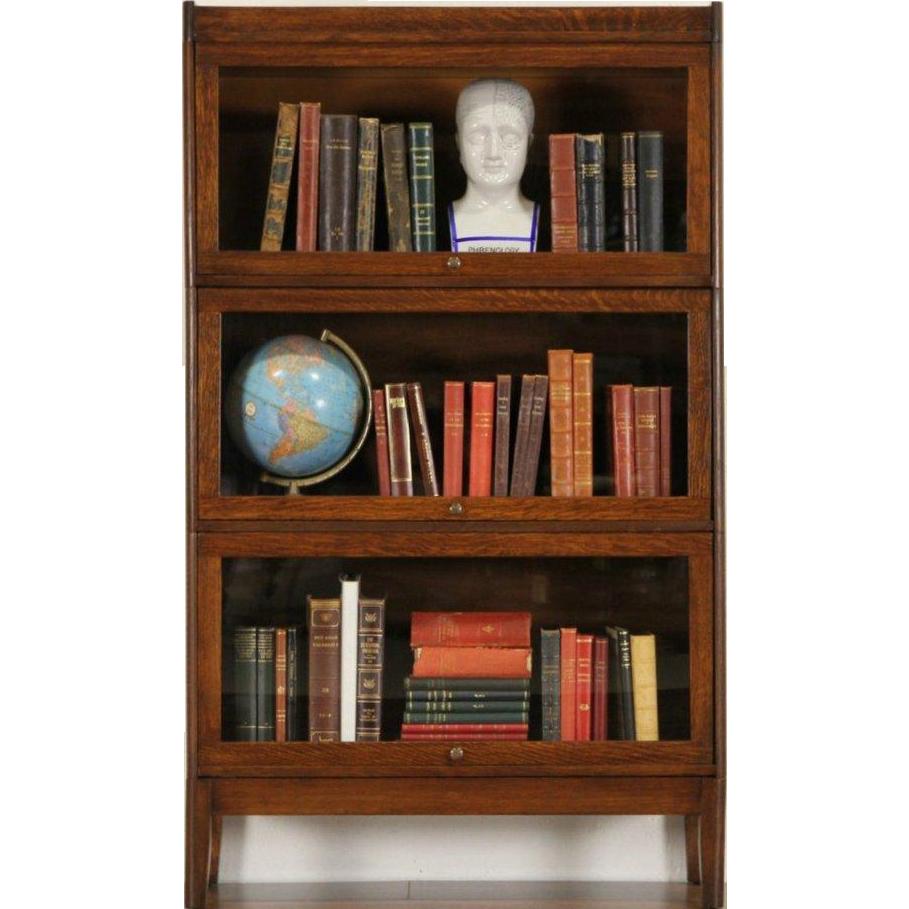 Arts & Crafts Mission Oak 3 Stack 1910 Antique Lawyer Bookcase