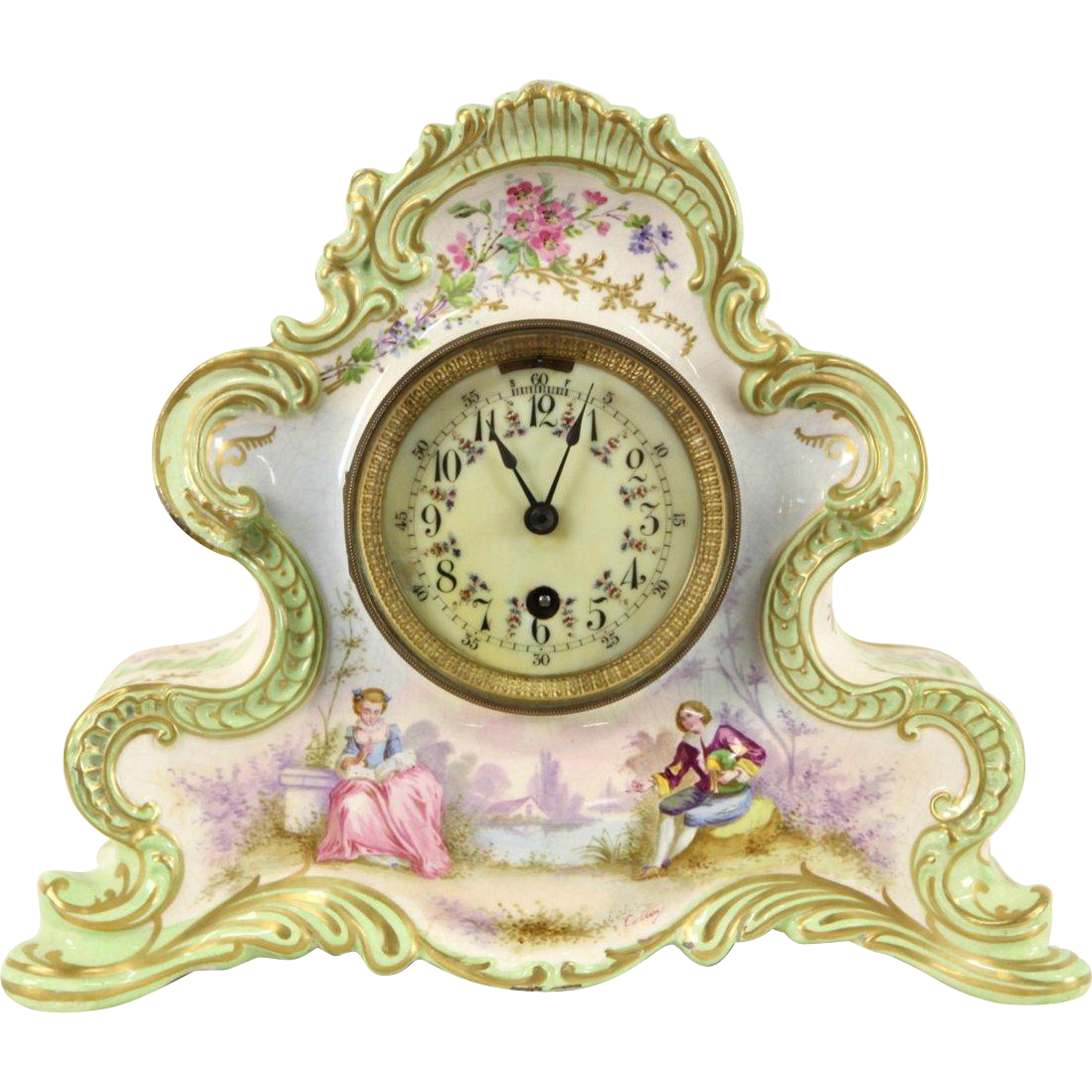 Boston Signed Antique 1880's Victorian Clock, French Porcelain Case