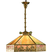 Stained Glass 1915 Antique Ceiling Light Fixture, Windmill Design