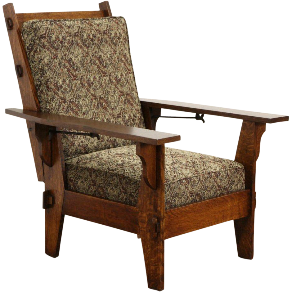 Arts & Crafts Mission Oak Antique 1905 Morris Chair or Recliner, New SOLD |  Ruby Lane - Arts & Crafts Mission Oak Antique 1905 Morris Chair Or Recliner, New
