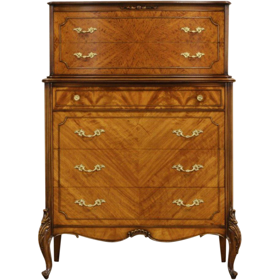 French Style 1940's Vintage Satinwood Tall Chest on Chest