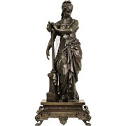 Harpist Statue, 1870 Antique Sculpture on Pedestal