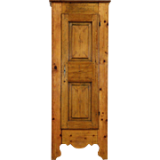 Country Pine Folk Art Armoire or Cupboard,