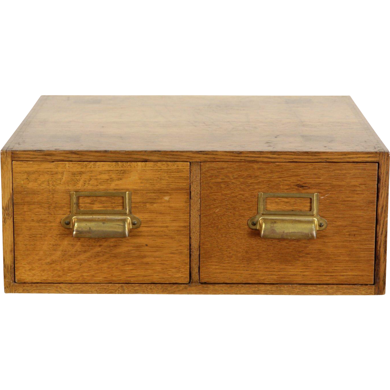 Oak 2 Drawer 1920 Antique Desktop 5x7 File Cabinet