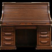 Oak 1900 Antique Double Roll Top 5' Raised Panel Desk