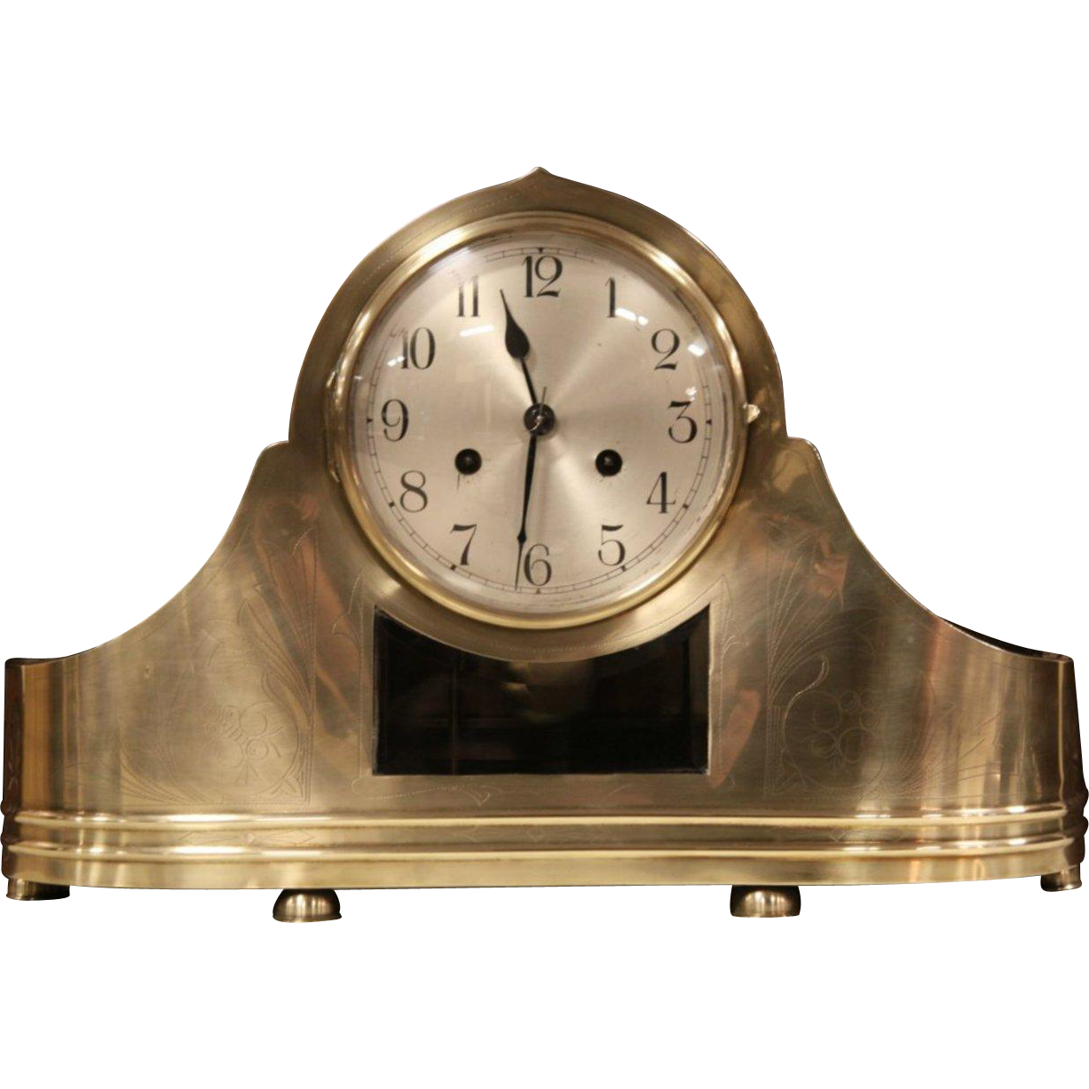 Engraved Bronze Antique 1900 Mantel Clock