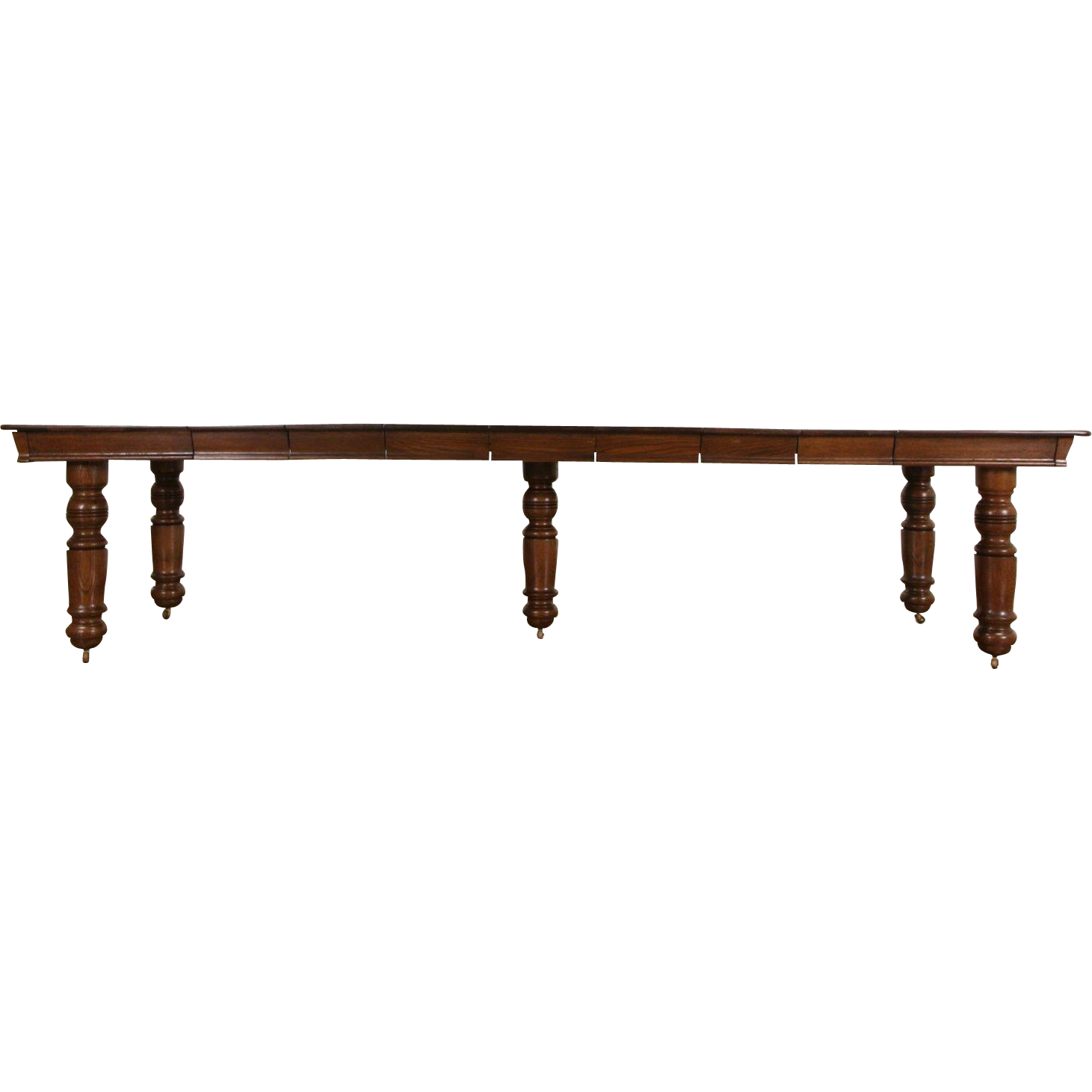 """Square Oak 1900 Antique Dining Table, 7 Leaves, Extends 10' 8"""""""
