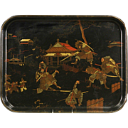Chinese Lacquer Warrior Design Papier Mache Antique 1900 Tray