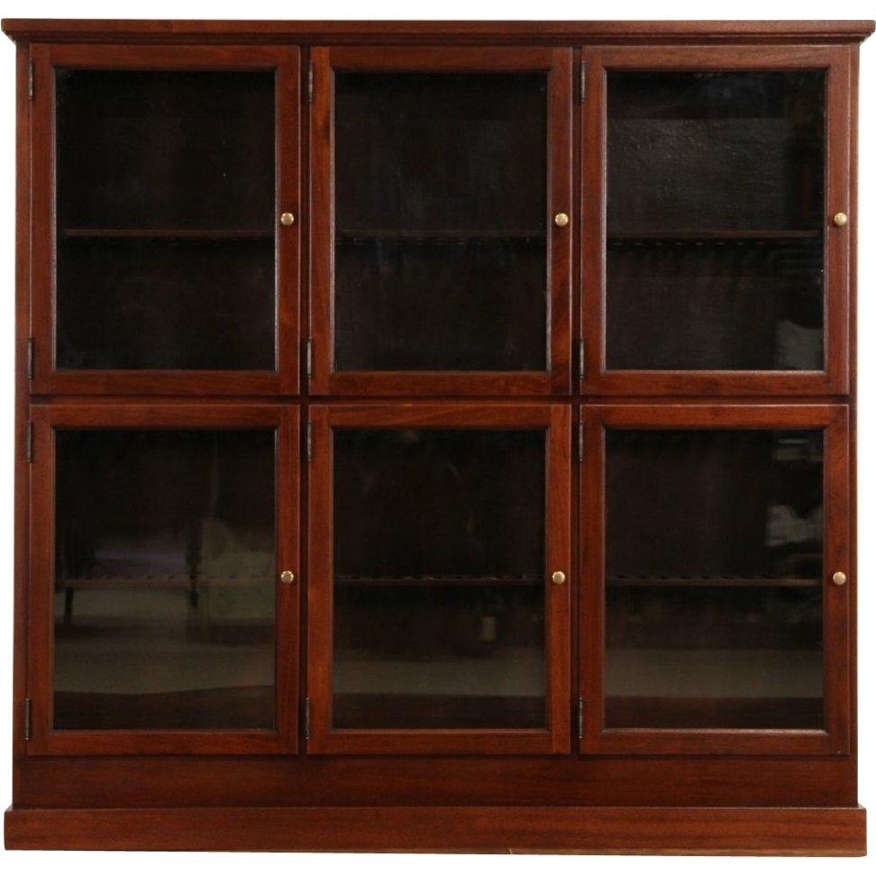 Cigar Tobacco Store Humidor Cabinet, 1900's Antique Mahogany, 6 Glass Doors