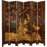Chinese Coromandel Hand Painted Lacquer Vintage 6 Panel Screen