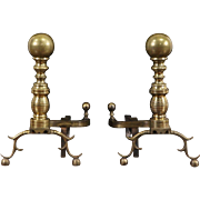 Pair of Brass Cannonball 1890's Antique Fireplace Andirons, Harvin of Baltimore