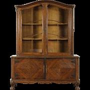 Country Manor Oak 1915 Antique Scandinavian China Display Cabinet