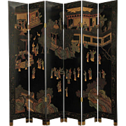 Hand Painted Chinese Coromandel  Lacquer Vintage 6 Panel Screen
