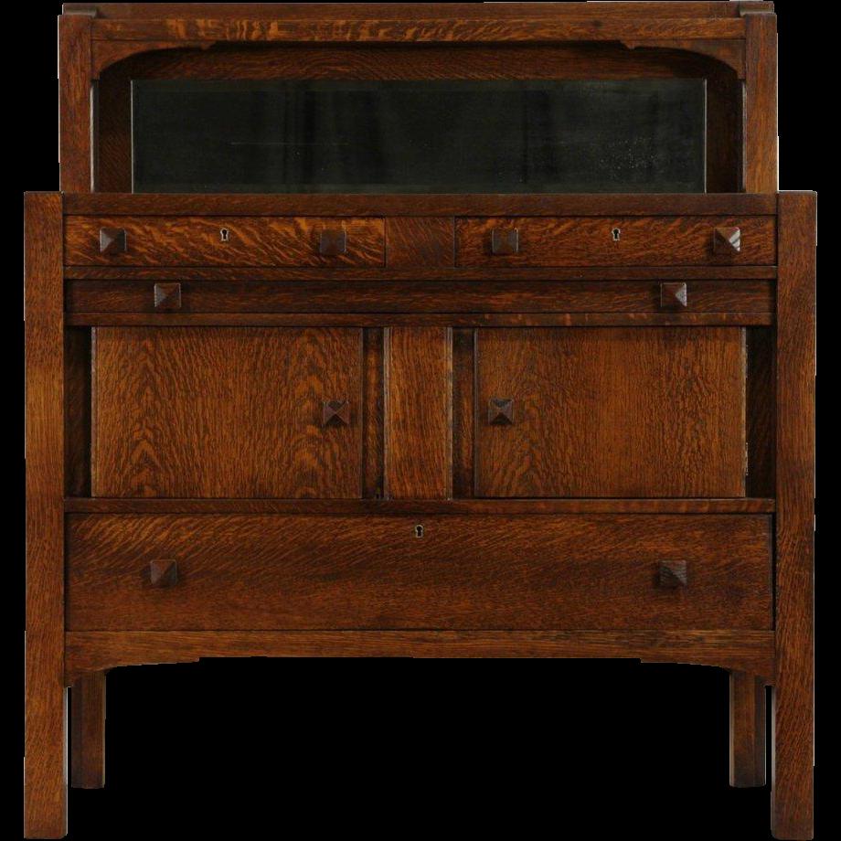 Arts & Crafts Mission Oak 1905 Antique Sideboard or Server, Beveled Mirror
